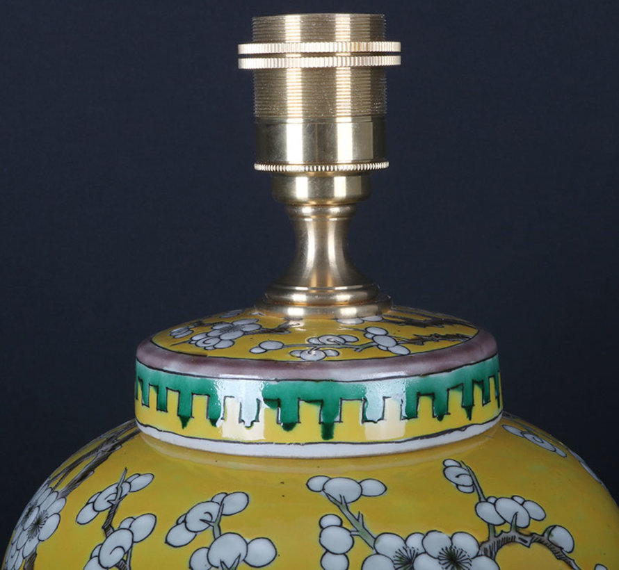 Chinese Vase Lamp with plum blossom yellow