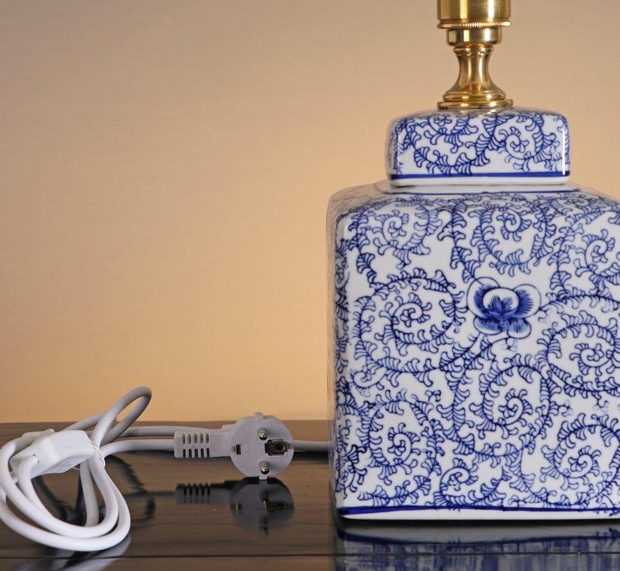 Chinesische Vasenleuchte mit doppelglück Blumenmotiven Blaumalerei