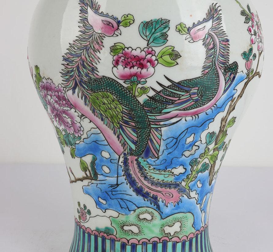 Chinese porcelain lidded vase 40 cm high Ø 20cm Phoenix