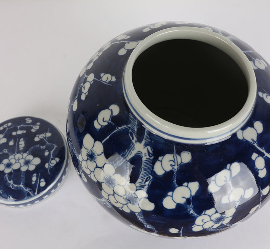 Chinese porcelain lidded vase 20 cm high Ø 18