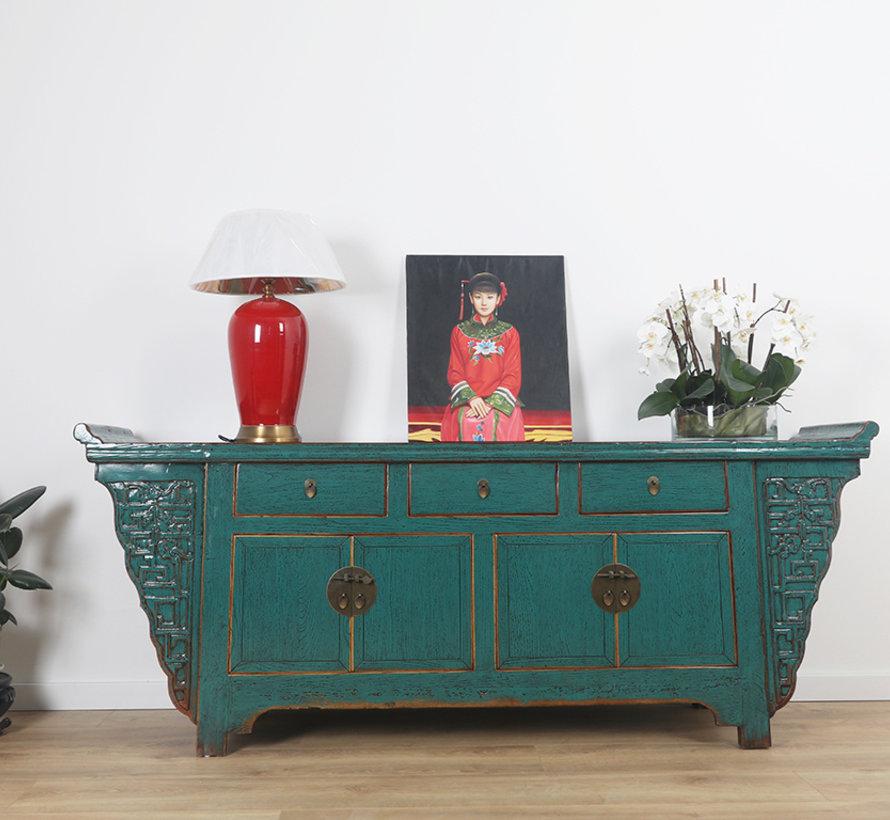 chinesische Altarsideboard 4 Türen 3 Schubladen türkis