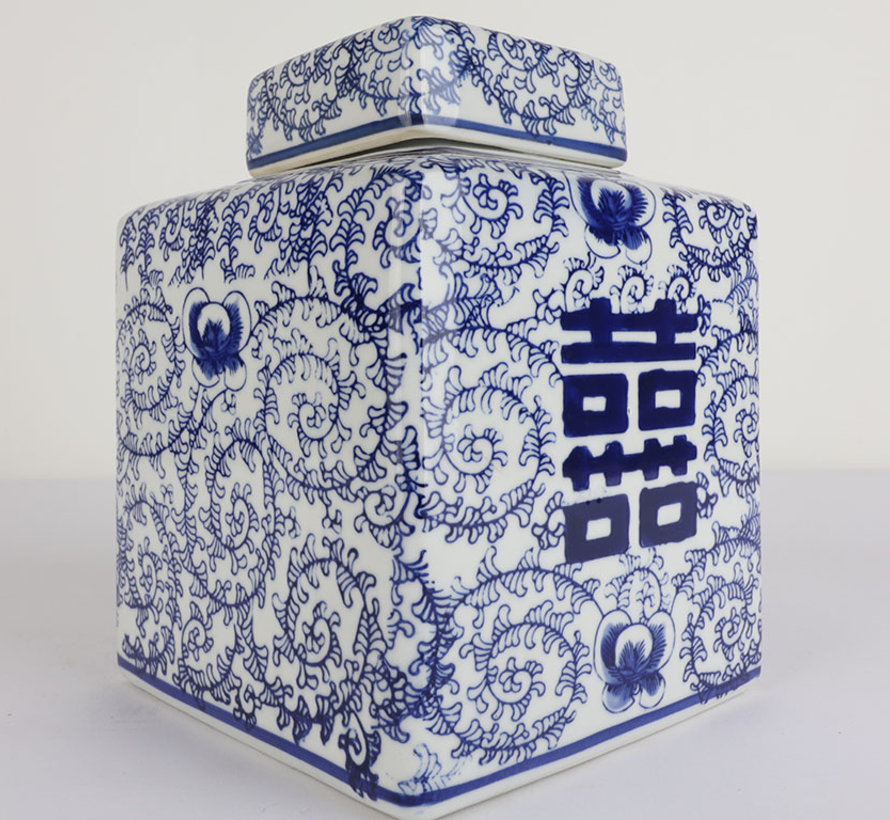 Chinese porcelain lid vase Double happiness