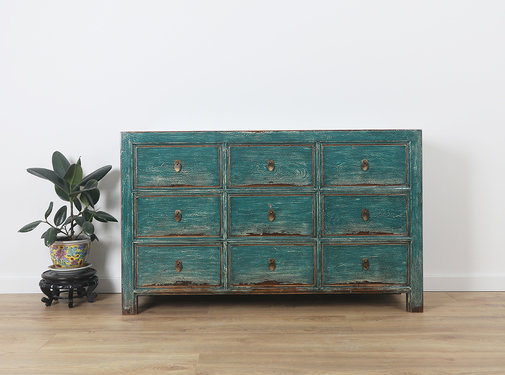 Yajutang Sideboard 9 drawers turquoise