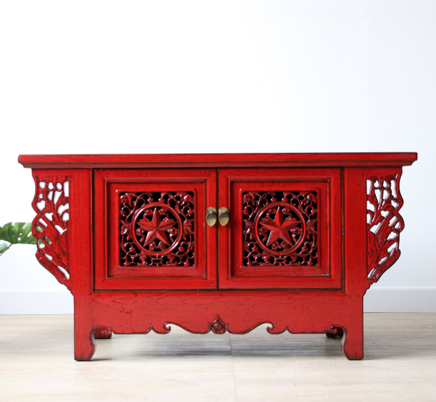 Chinese chest of drawers lowboard solid wood red
