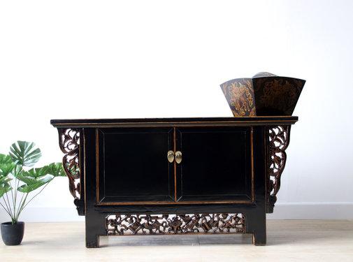 Yajutang Chinese lowboard solid wood black