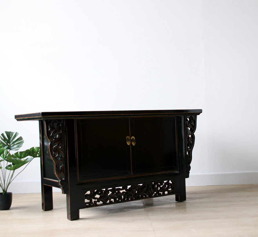 Chinese chest of drawers lowboard solid wood black