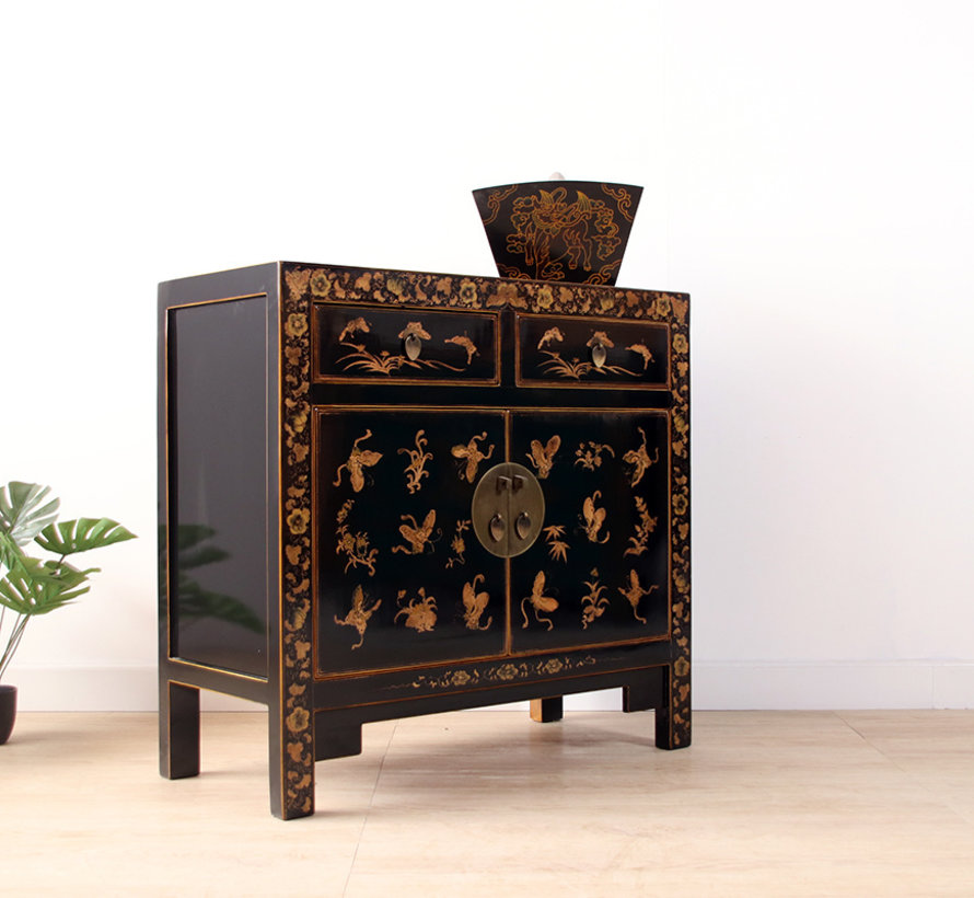 chinese chest hand-painted butterflies plum blossoms black