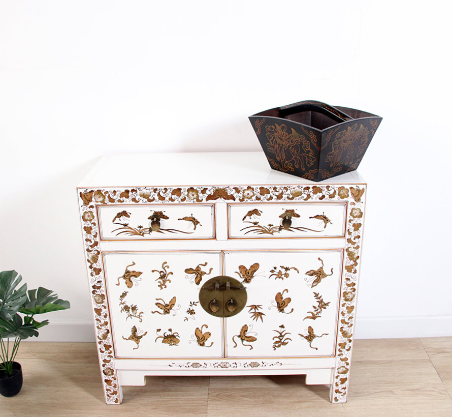 chinese chest hand-painted butterflies plum blossoms white
