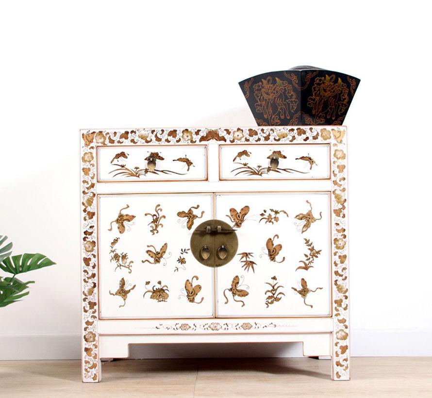 chinesische Kommode handgemalte Schmetterlinge weiß