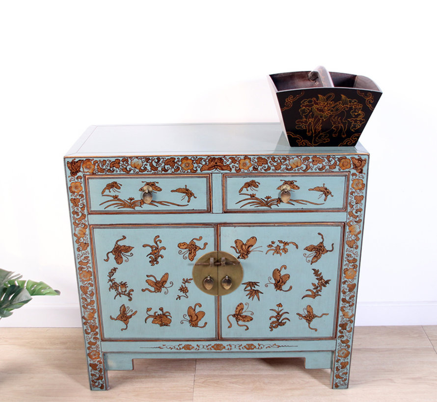 chinese chest hand-painted butterflies plum blossoms grey