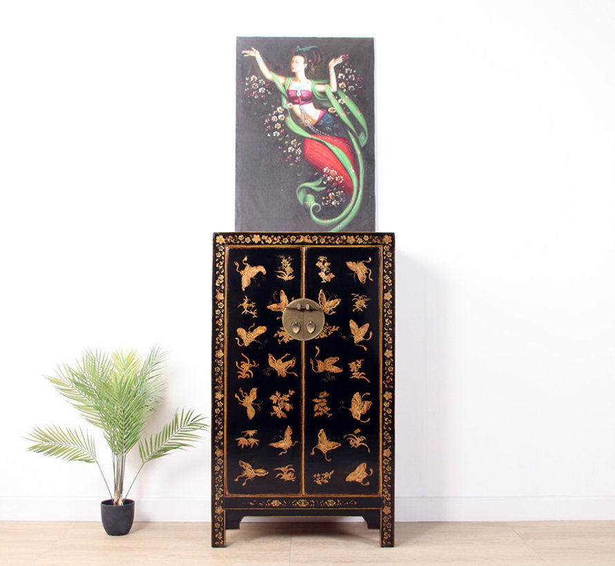chinesische Kommode handgemalte Schmetterlinge schwarz