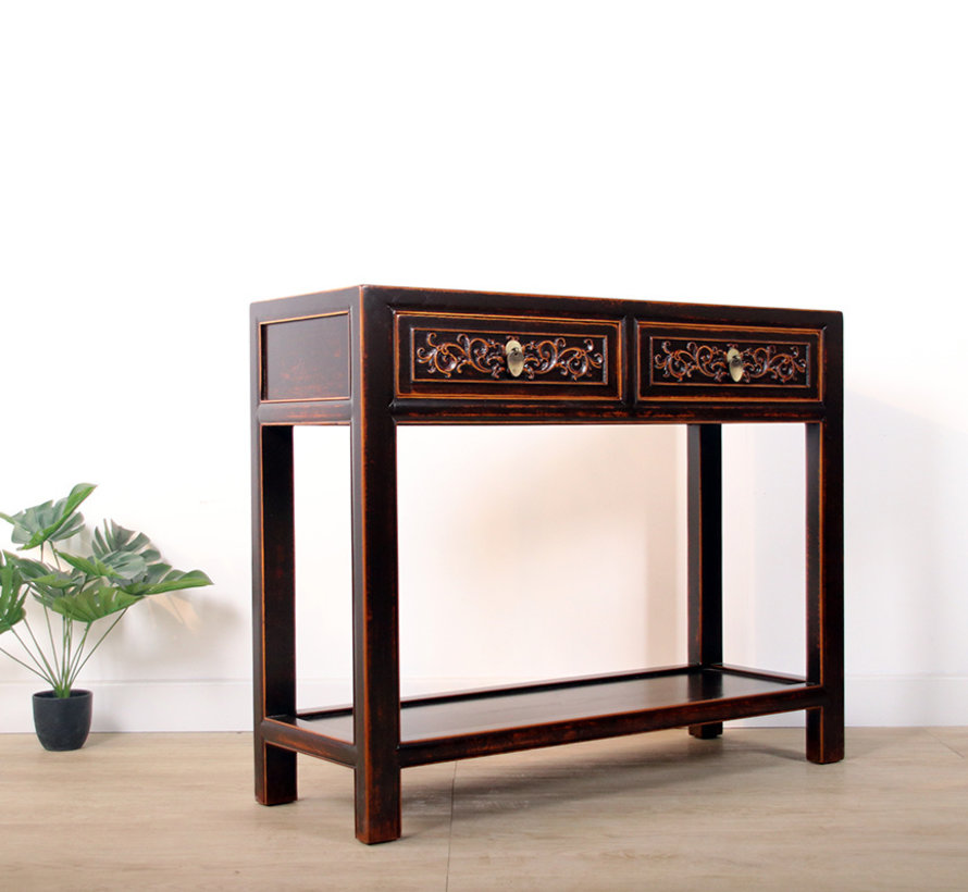 Console console table with 2 drawers in solid brown