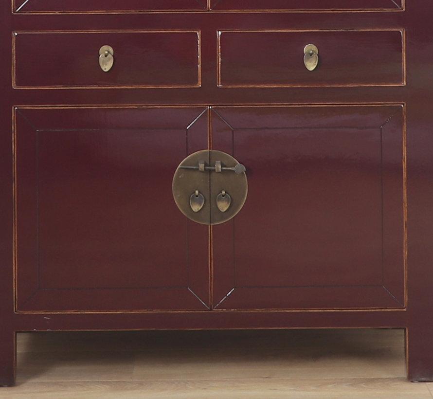 Chinese wedding cabinet 4 doors 2 drawers purple