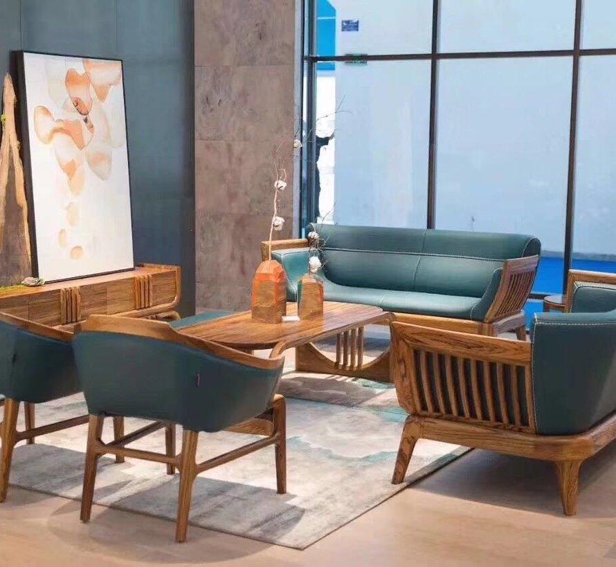 2-Sitzer-Sofa in Leder mit massivholz,185 cm