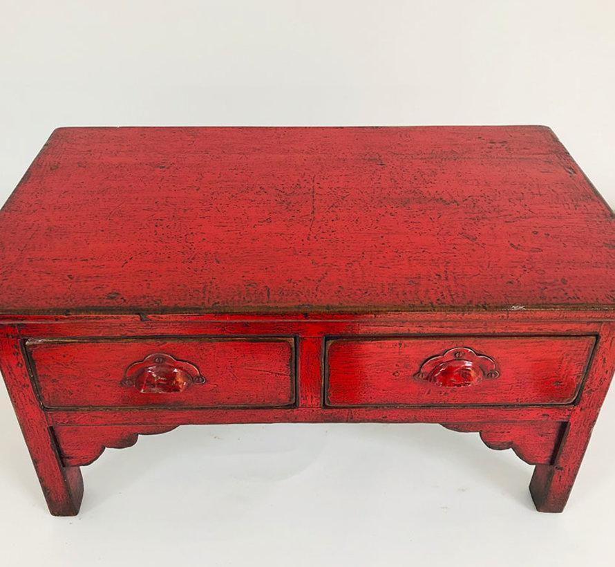 Chinesischer kleiner Tisch Beistelltisch Massivholz rot