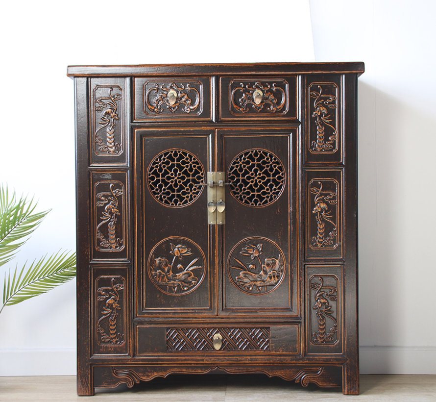 Chinese chest of drawers sideboard 2 doors 3 drawers tblack