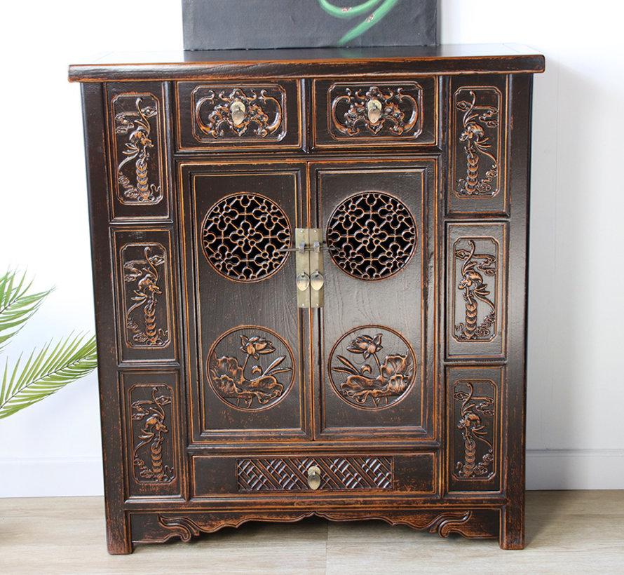chinesische Kommode Sideboard 2 Türen 3 Schubladen schwarz