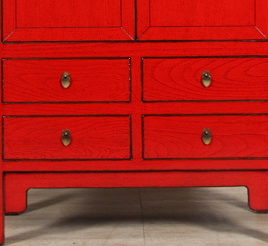 Chinesischer Hochzeitsschrank 2 Türen 4 Schubladen rot
