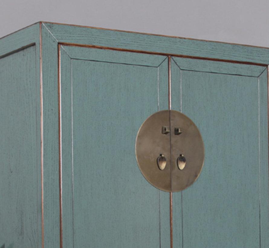 Chinesischer Hochzeitsschrank 2 Türen 4 Schubladen grau
