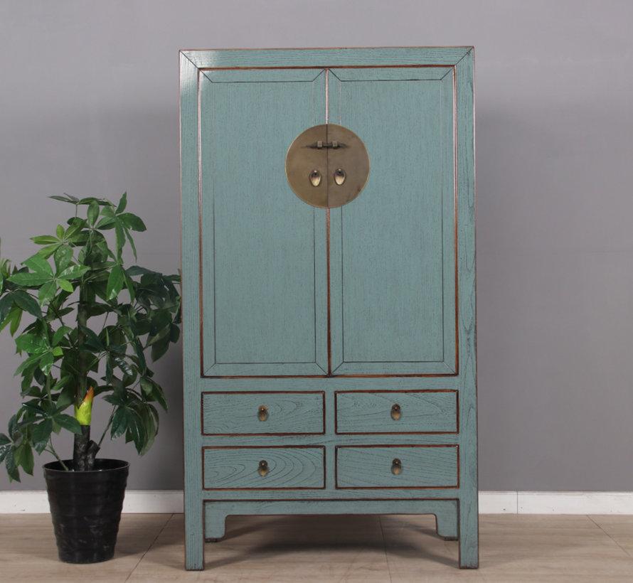Chinese wedding cabinet 2 doors 4 drawers gray