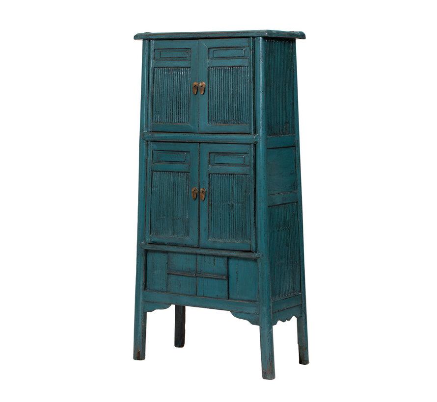 antik Bambus Küchenschrank blau