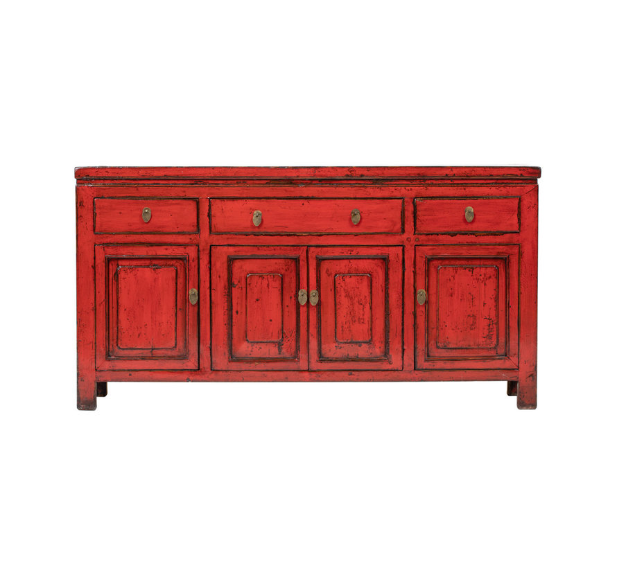 Antique sideboard lowboard chinese asia asian red