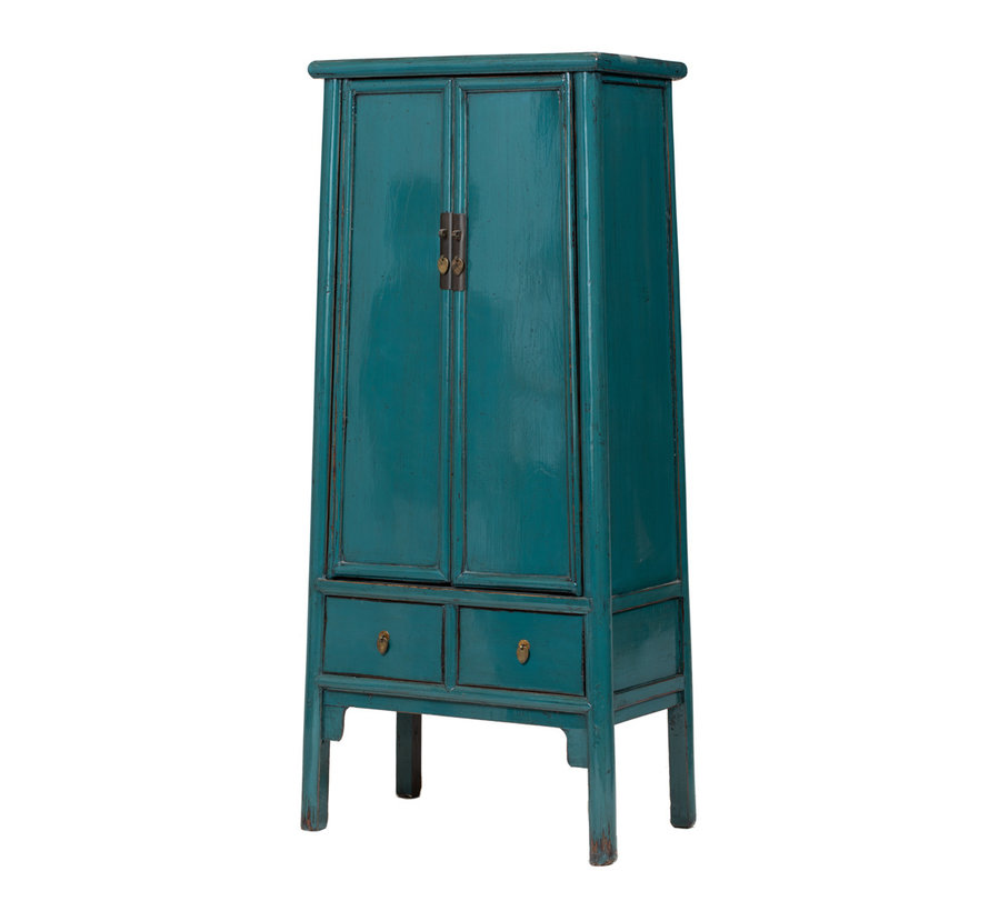 antiker chinesischer Hochzeitsschrank Schrank blau