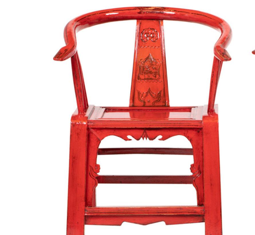 Antiker chinesischer Armlehnstuhl, Rückenlehne mit Schnitzereien