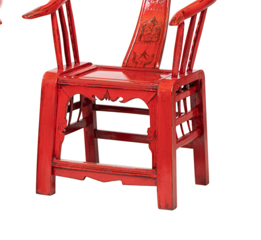 Antique Chinese armchair, carved backrest