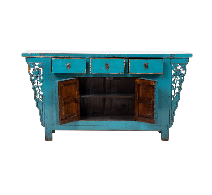 Antique sideboard lowboard chinese asia asian blue