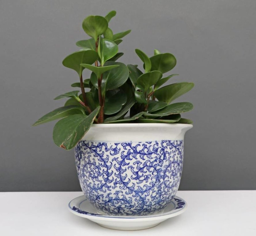 China Porzellan Blumentopf Blau-Weiß schnecken Blätter Ø 24cm