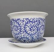 Yajutang Blumentopf Blau-Weiß & Schneckeblatt Ø24
