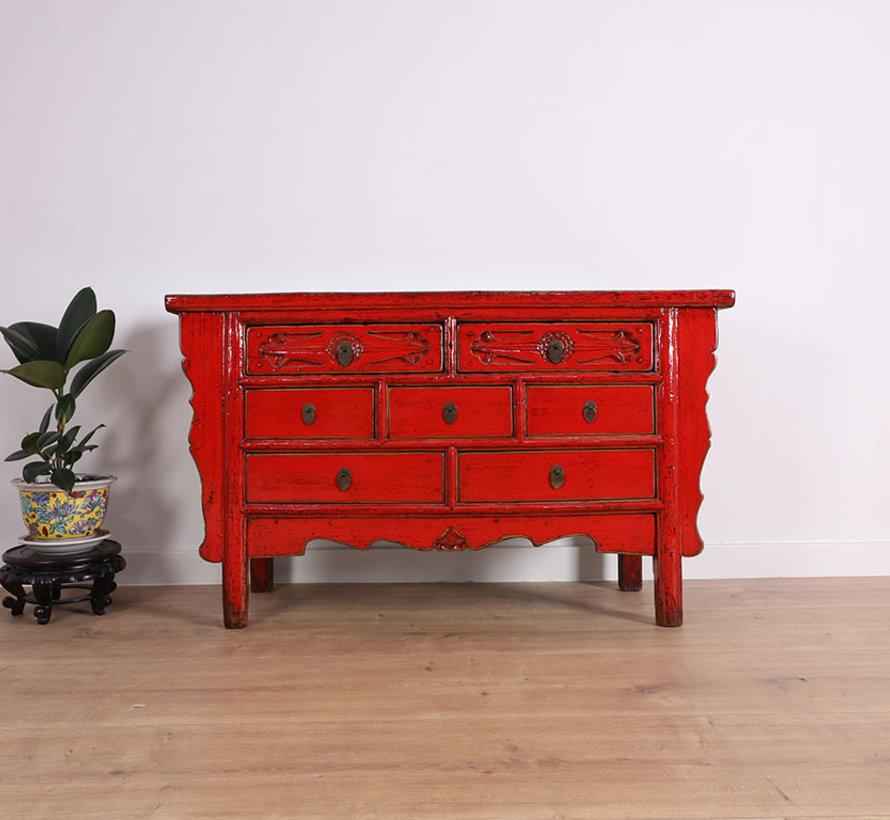Antike Kommode aus China 7 Schubladen rot