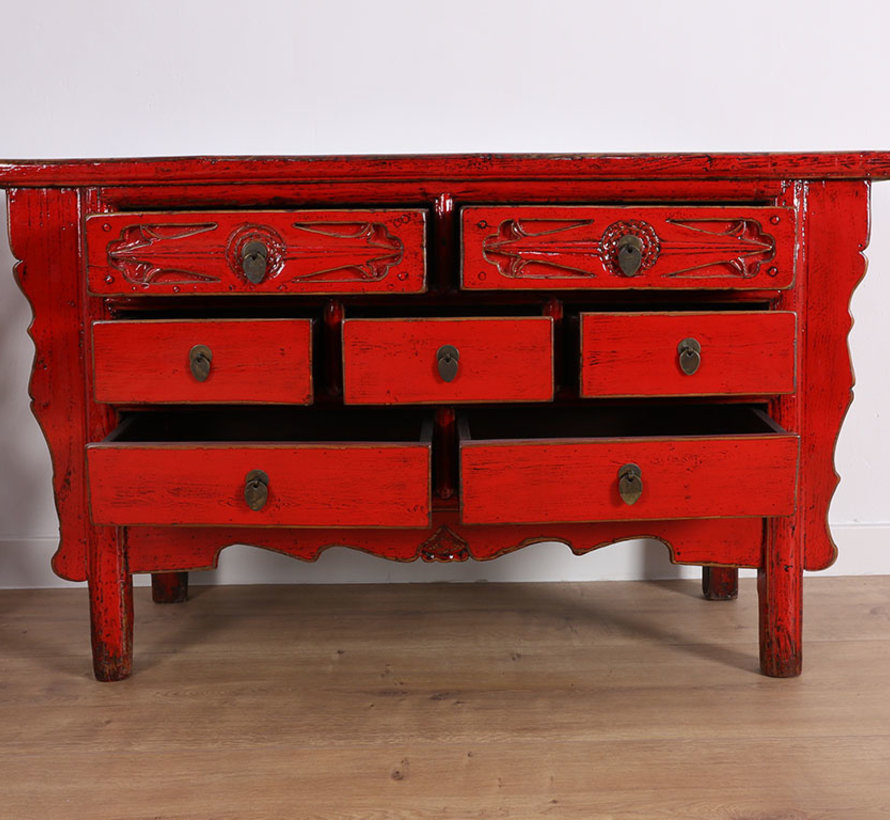 Antique chest of drawers from China 7 drawers red
