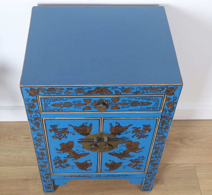 chinesische Kommode Sideboard 1 Schublade 2 Türen bemalt blau