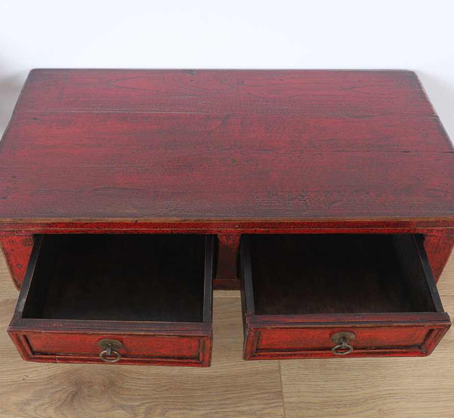 Chinese small table side table solid wood red
