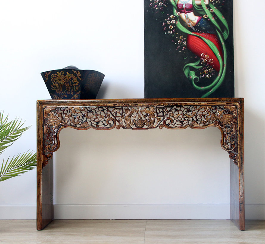 Antique china table with phoenix health carving