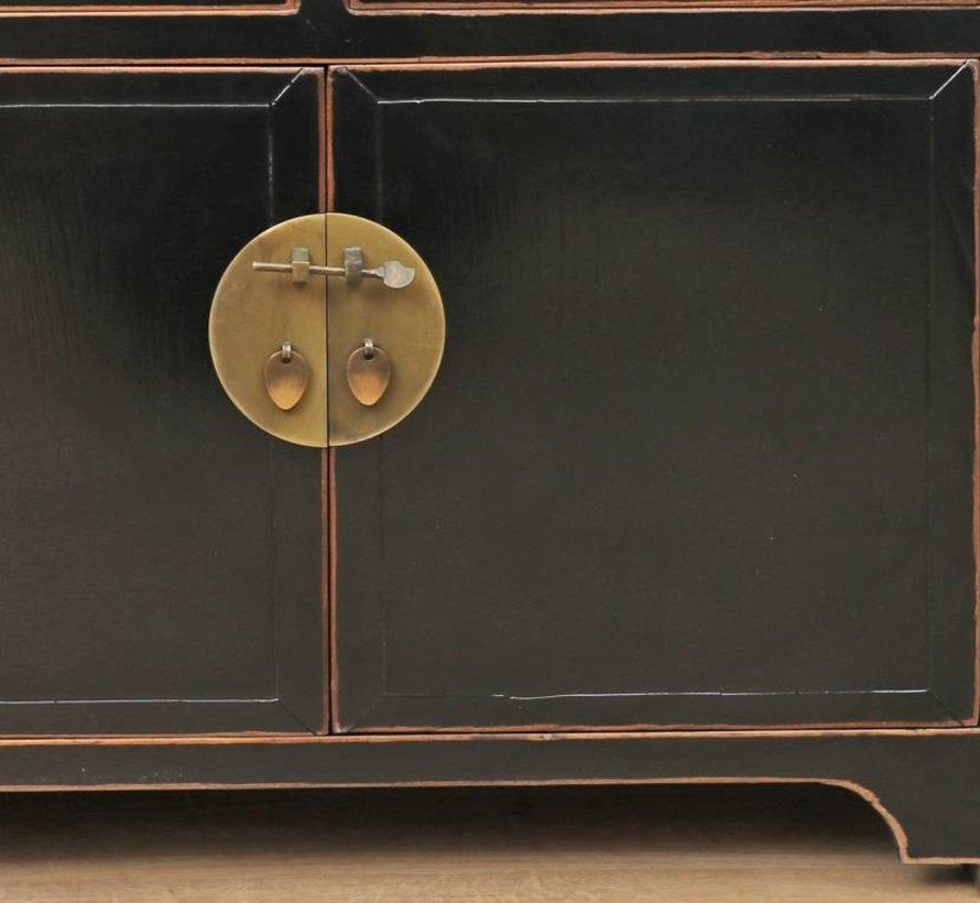 Chinesische Kommode  Sideboard 2 Türen 5 Schubladen schwarz
