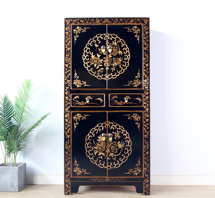 Chinese dresser wedding cabinet solid black