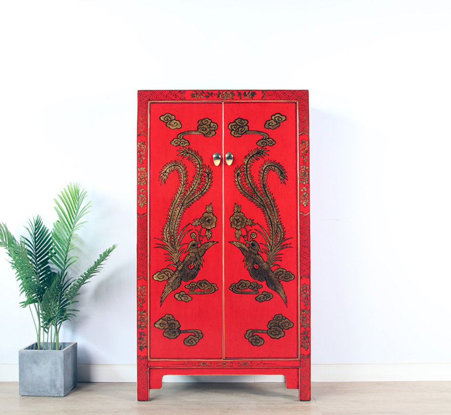 Schrank mit Handbemalung Phönix rot
