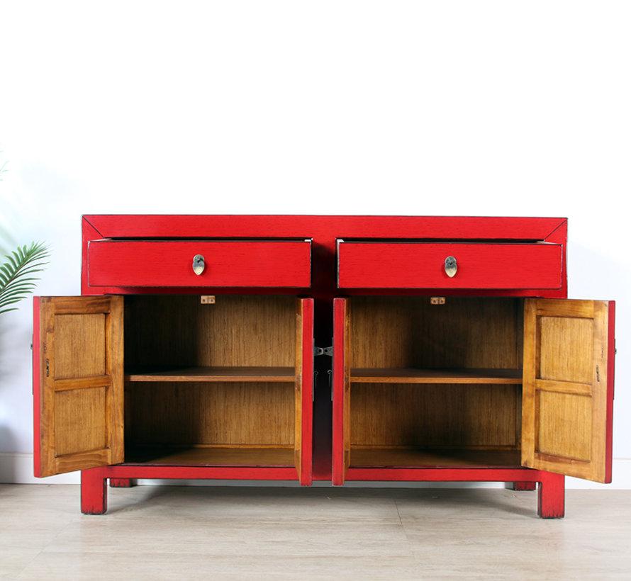 Kommode Sideboard 4 Türen 2 Schubladen rot