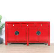 Yajutang Chinese sideboard 4 doors 3 drawers red