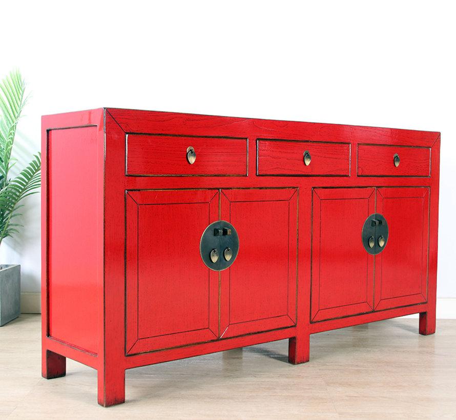 chinesische Kommode Sideboard 4 Türen 3 Schubladen rot