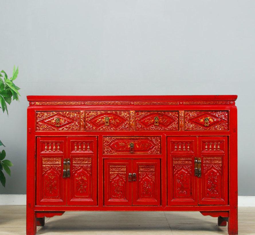 Antikes handbemaltes Sideboard, rot, mit Blumen-Mustern