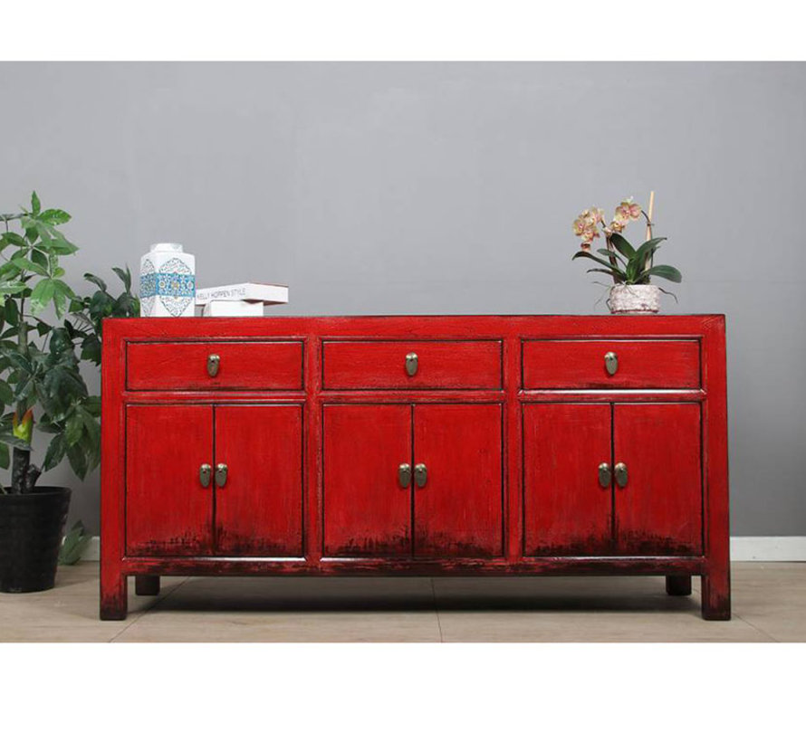 Sideboard 6 Türen 3 Schubladen langer Vorratsschrank used rot