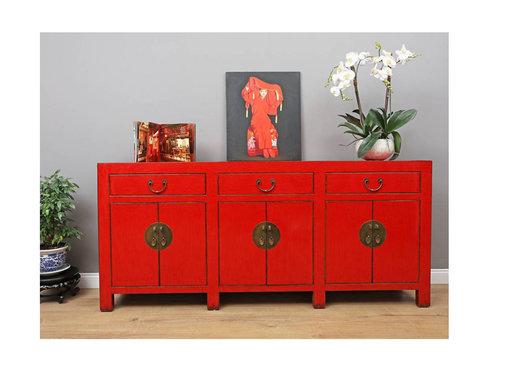 Yajutang Chinese sideboard 6 doors 3 drawers red