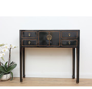 Yajutang black sideboard natural wood edge