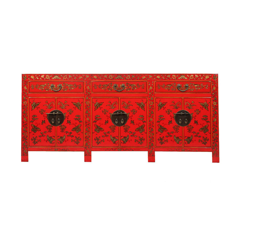 Sideboard with hand painted butterfly red
