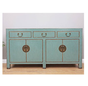 Yajutang Chinese sideboard 4 doors 3 drawers light blue
