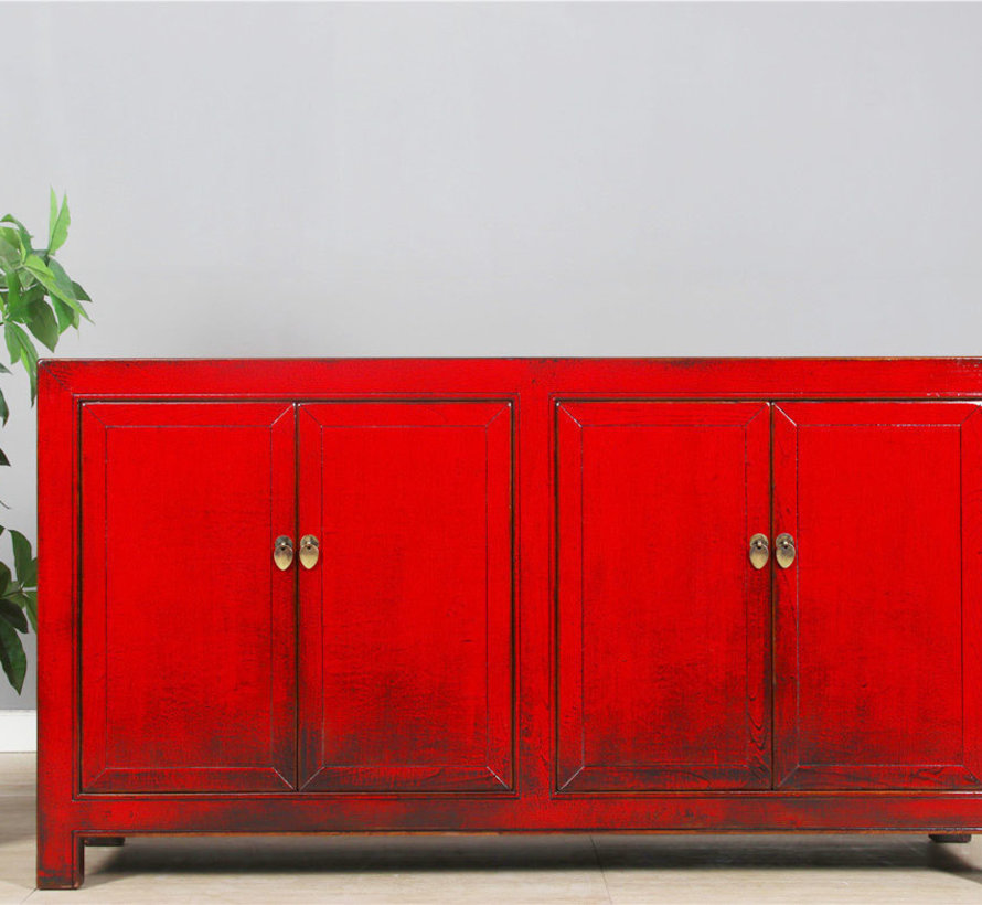 chinesisches Sideboard Fernsehtisch Kommode 4 Türen rot